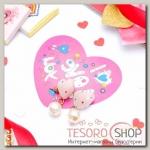 """Набор серьги+открытка, """"Сердце"""" принцесса, с бусиной, цвет светло-розовый - бижутерия"""