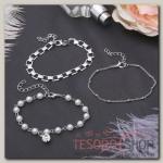 Браслет жемчуг Романтик капля, набор 3 штуки, цвет белый в серебре - бижутерия