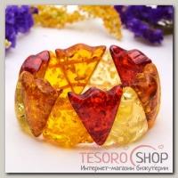 Браслет Янтарь пластина резной треугольник, разноцветный - бижутерия