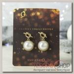 Серьги Новогодние узелок с жемчужиной, цвет белый в золоте - бижутерия