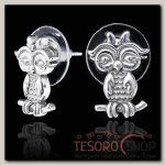 Пусеты Торотороко, цвет чернёное серебро - бижутерия