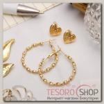 Серьги-кольца с пуссетами Сердце, цвет золото, d=2,5 см - бижутерия