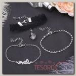 Браслет со стразами Романтик кружево, набор 3 штуки, цвет бело-чёрный в серебре - бижутерия
