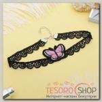 Чокер Роуз бабочка, цвет розово-чёрный - бижутерия