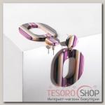 Серьги пластик Глянец, цветные с розовыми вставками - бижутерия