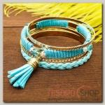 Браслет-кольца 4 кольца Плетение с кистью, цвет голубой в золоте - бижутерия