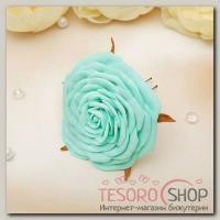 Шпилька для волос Изящная роза 8 см бирюзовая - бижутерия