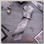 """Набор мужской """"Стиль"""" галстук 145x5см, запонки, турецкий огурец, цвет серый - бижутерия"""