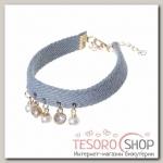 Браслет ассорти Джинсовый стиль бусинки, цвет бело-голубой в золоте - бижутерия