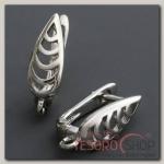 Швензы родированные Листок, цвет серебро - бижутерия