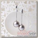 Серьги Жемчуг хлопковый шар №18, цвет серый - бижутерия