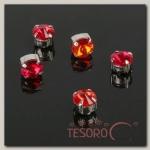 Стразы в цапах (набор 5 шт), 6x6мм, цвет красный в серебре