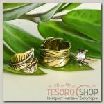 Кольцо Ассорти сова с листочками, размер 14,17,18 МИКС, цвет чернёное золото