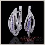 Серьги Зефир, цвет фиолетовый в серебре - бижутерия