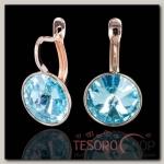 Серьги Лазурь круг, цвет голубой, позолота - бижутерия
