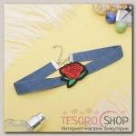 Чокер Роуз джинс, бутон, цвет красно-зелёный в синем - бижутерия