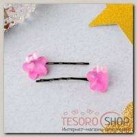 Невидимка для волос Карамелька (набор 5 пар) цветочек 4 см, микс - бижутерия