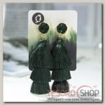 Серьги Кисти ванесса, цвет зелёный, L кисти 5,5 см - бижутерия