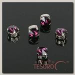 Стразы в цапах (набор 5 шт), 8x8мм, цвет фиолетовый в серебре