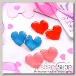Серьги эмаль Сердце, цвет МИКС - бижутерия