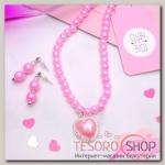 Набор 2 предмета: серьги, колье Ванесса сердце, цвет розовый в серебре - бижутерия