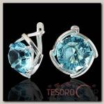 Серьги Рассвет круг, цвет голубой, посеребрение с оксидированием - бижутерия
