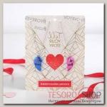 Кулон Неразлучники яркие сердечки, цвет розово-синий в серебре, 45 см - бижутерия