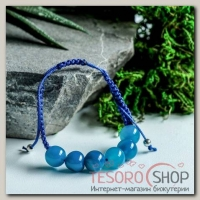 Браслет шар №10 Агат синий шамбала, 6 бусин - бижутерия