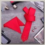 Набор мужской Элит галстук 145x5см, платок, запонки, квадрат крупный, цвет красный - бижутерия