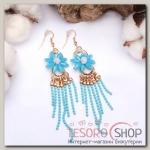 Серьги ассорти Цветочный водопад, цвет голубой в золоте - бижутерия