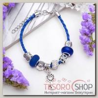 Браслет ассорти Марджери бусины с ключиком, цвет бело-синий в серебре - бижутерия
