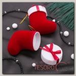 Футляр под кольцо Сапожок новогодний 5x6x6,5, цвет красно-белый, вставка белая - бижутерия