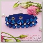 Браслет кожа Цветы сияющие, цвет синий - бижутерия