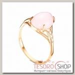 Кольцо позолота Кварц розовый овал, 17,5 р-р