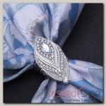 Кольцо для платка Перо, цвет белый в серебре