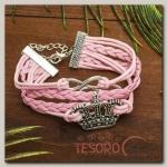 Браслет кожа Магия знаков принцесса, 5 нитей, цвет розовый - бижутерия
