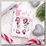 """Пусеты 3 пары """"Новогоднее ассорти"""" снеговик, валенок, варежка, цветные - бижутерия"""