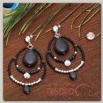 Серьги Капля вдохновение, цвет чёрный в серебре - бижутерия