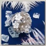 Кольцо Букет весны, цвет бело-серый в серебре, размер 17, 18, 19 МИКС