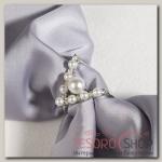 Муфта для платка Виктори с бусинами, цвет белый в серебре
