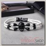 Браслет мужской Денджер череп, цвет белый в чёрном металле - бижутерия