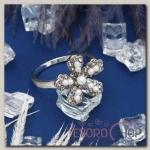 Кольцо Цветок жемчужная ромашка, цвет серо-белый в серебре, размер 17, 18, 19 МИКС
