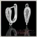Швензы с английской застежкой с цирконом Капля, цвет белый в серебре (1 пара) - бижутерия