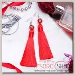 Серьги ассорти Кисти муранское стекло, цвет красный, L кисти 8,5 см - бижутерия
