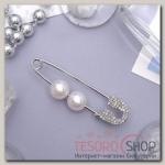 Булавка Бусинки пара, 5см, цвет белый в серебре - бижутерия