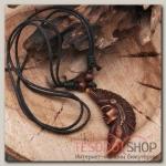 Кулон мужской Индеец длина 40-80см регулир-я, цвет коричнево-чёрный - бижутерия