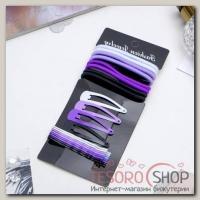 Набор для волос Классика (8 резинок, 12 невидимок) 4,5 см, 6 см, сиреневый - бижутерия