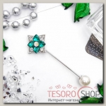 Булавка Цветок в ромбе, 8см, цвет зеленый в серебре - бижутерия