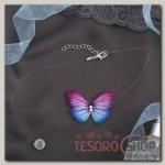 Чокер Butterfly на леске, цвет розово-синий в серебре - бижутерия