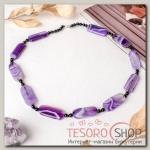 Бусы Агат пористый прямоугольник с бусинами через узел, цвет фиолетовый - бижутерия